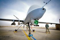 This image shows Reaper a Remotely Piloted Air System (RPAS), part of 39 Squadron Royal Air Force. The Reaper has completed 20,000 operational flight hours in theatre, and is operated from Kandahar Air Field (KAF) in Afghanistan.  Reaper is a medium-to-high altitude, long endurance Remotely Piloted Air System (RPAS). The Reaper's primary mission is to act as an Intelligence, Surveillance and Reconnaissance (ISR) asset, employing sensors to provide real-time data to commanders and intelligence specialists at all levels.   This image is available for non-commercial, high resolution download at www.defenceimages.mod.uk subject to terms and conditions. Search for image number 45152482.jpg ---------------------------------------------------------------------------- Photographer: Cpl Mark Webster Image 45152482.jpg from www.defenceimages.mod.uk