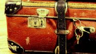 beautiful old blue and brown suitcases - retro style