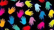 Communication Background Black Colorful Hands