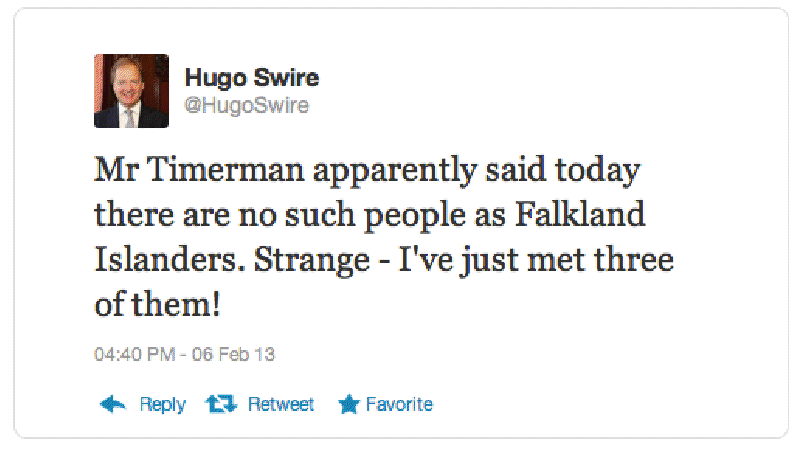 Hugo Swire tweet