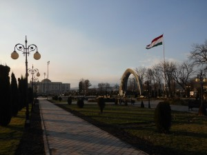 Palace and flagpole in Dushanbe. Photo by Kirill Nourzhanov