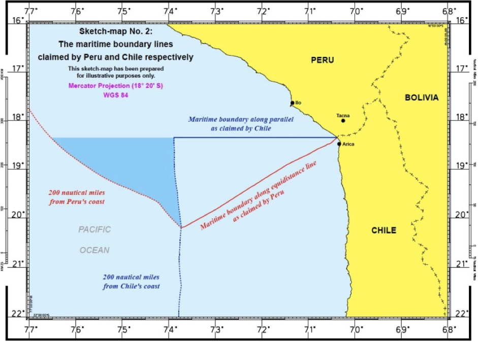 Image from p. 16 of the ICJ-CIJ decision in the Maritime Dispute (Peru v. Chile) case, available from <http://www.icj-cij.org/docket/files/137/17930.pdf>.
