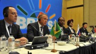 ( Brazil Jose Rubens De La Rosa, Russia Sergey Katryrin, SA Patrice Motespe, India Onkar Kanwar, China MA Zehua ) Chairmen of the BRICS countries during the media briefing at the first meeting of the BRICS Business Council held at the Sandton Convention Centre, Johannesburg. 20/08/2013