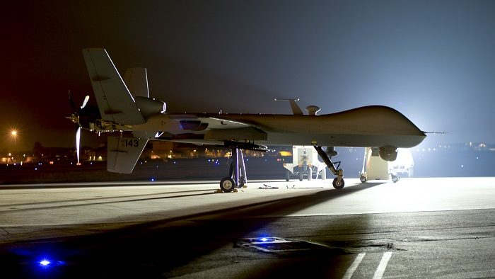 An MQ-9 Reaper sits on the flight line at Hurlburt Field Fla., April 24, 2014.The MQ-9 Reaper is an armed, multi-mission, medium-altitude, long-endurance remotely piloted aircraft that is employed primarily as an intelligence-collection asset and secondarily against dynamic execution targets.(U.S. Air Force photo/Staff Sgt. John Bainter)