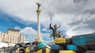 Kiev, Ukraine, colorful tires ,the Berehynia monument