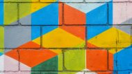 colourful square painted  graffiti on grunge wall
