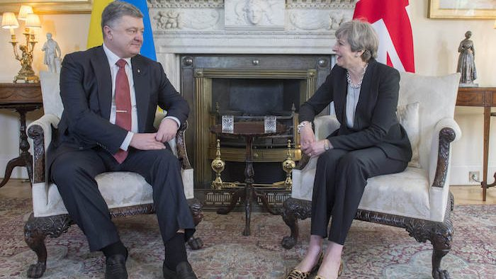 Prime Minister Theresa May meets the President of Ukraine Petro Poroshenko  The Prime Minister held Bi-Lateral talks with the President at Downing Street. She met him at the famous Number 10 door then held their bilateral meeting in the famous White Room