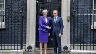 British Prime Minister Theresa May greets President of the European Council, Donald Tusk in Downing Street on March 1, 2018 in London, England.