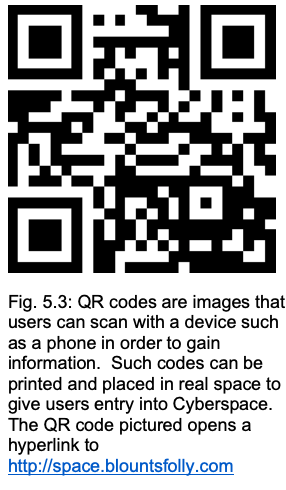 Fig. 5.3: QR codes are images that users can scan with a device such as a phone in order to gain information. Such codes can be printed and placed in real space to give users entry into Cyberspace. The QR code pictured opens a hyperlink to http://space.blountsfolly.com