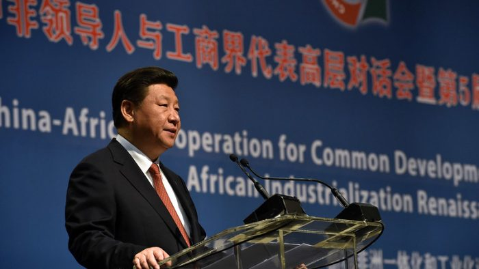 (in the pic - President  Xi Jinping  addressing the FOCAC Business summit). President Jacob Zuma co-chairs the FOCAC Summit with Chinese President Xi Jinping - Sandton, Johannesburg. 04/12/2015, Elmond Jiyane, GCIS